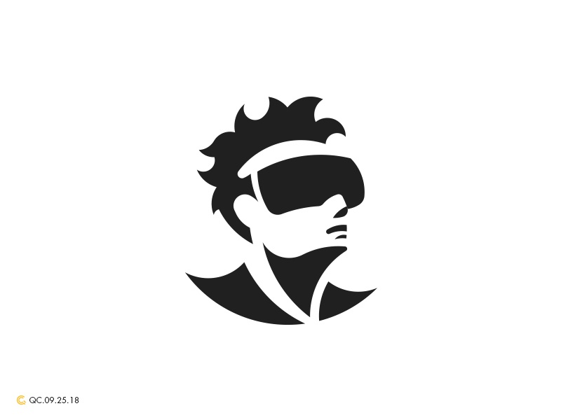 Virtual Reality abstract clean grid mark modern virtual reality brand golden ratio logo