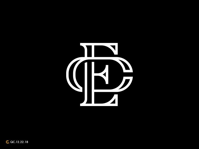 CE Monogram clean grid branding process mark modern monogram brand golden ratio logo