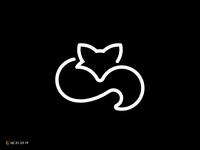 Curled Up Fox Line Art Logo