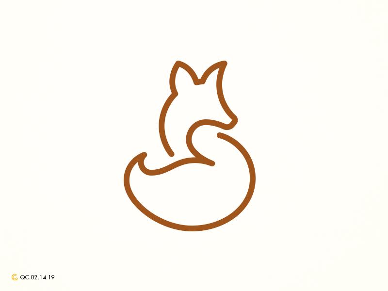 Elegant Sitting Fox Line Art line art fox abstract clean grid monogram branding mark modern brand golden ratio logo