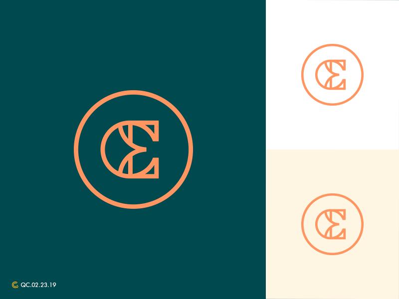 C+E Monogram clean monogram branding mark modern brand golden ratio logo