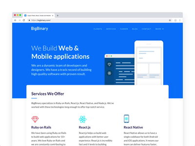 BigBinary homepage design bigbinary ux design ux design ui website design website