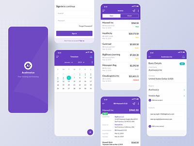 Aceinvoice ux design ui design aceinvoice purple calendar timetracker ui ux