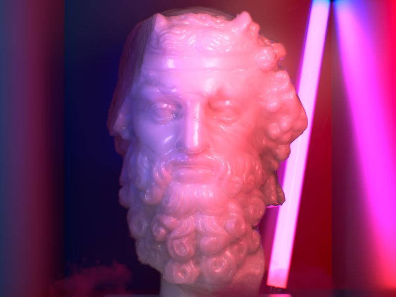 Διόνυσος in the box ancient greece ancient neon light artwork c4d 3d neon box dion god greek mythology
