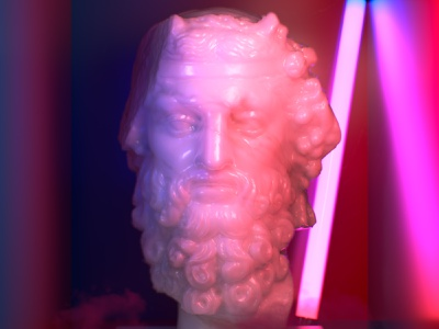 Διόνυσος in the box ancient greece ancient neon light artwork c4d 3d neon box dion god greek mythology