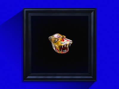 Tribal Tiger Artwork – Head wood tribal tiger design artwork 3d