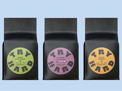 Try Hard Coffee Roasters branding design coffee brand cafe coffeebar coffeebag