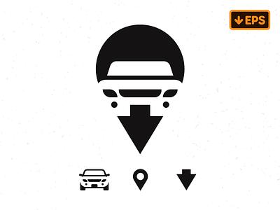 Car Pin  negaticespace geotag pin car
