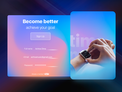 Fitness App Sign Up 001 gradient sign signup dailyui ux ui webdesign web design app fitness