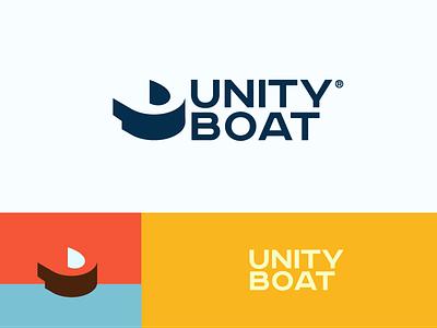Unity Boat branding company sea argo ark ship boat unity u smart negativespace logo
