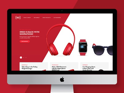 (RED) Homepage Redesign site web diagonal slant sunglasses iwatch headphones products redesign page home red