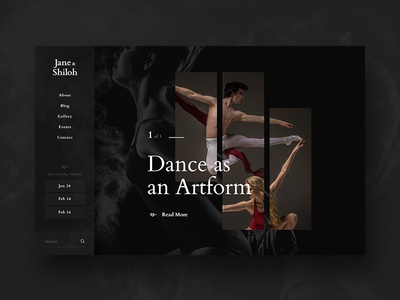 Jane & Shiloh Black Concept serif sans nav side dark sleek ui art dance interface black