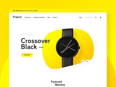 Project Watches Concept vibrant yellow watches project homepage home landing page clean white modern