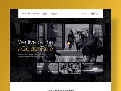 Marriott #GoldenRule Microsite Design mosaic grid single page player video gold hotel marriott landing page microsite