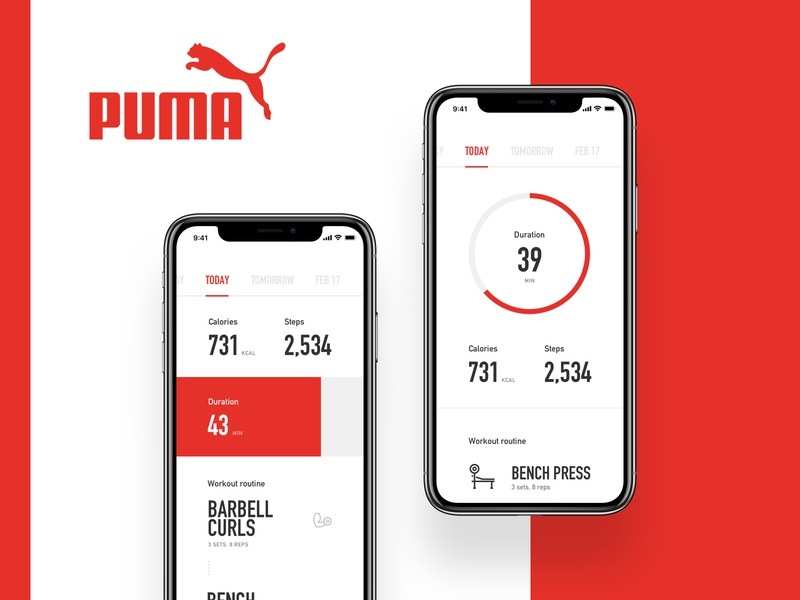Puma Fitness App exercise workout numbers design white modern minimal iphone ios clean app fitness ui clean red and white red