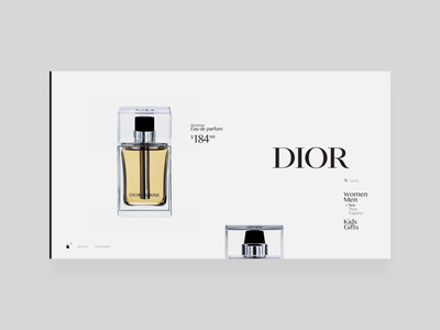 Dior men's category page redesign transition dior products motion animation clean design category luxurious luxury black gray white minimal modern