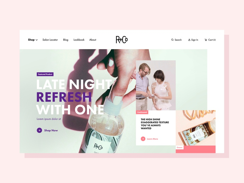R&Co Homepage Redesign luxury beauty hair home homepage hero grid geometric colorful redesign homepage design