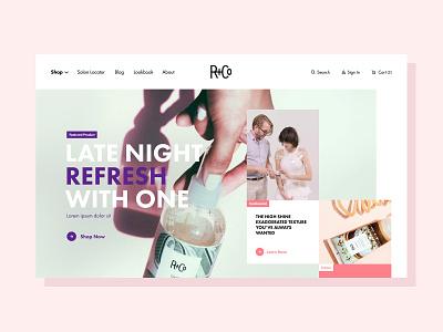 R&Co Homepage Redesign luxury beauty hair home homepage hero grid geometric colorful redesign homepage design
