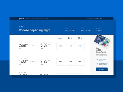Jetblue flight booking UI airlines flight redesign concept white and blue selection booking ui typography minimal clean redesign