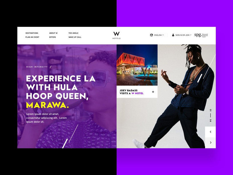 W Hotel homepage modern business card grid purple hotel design hotel