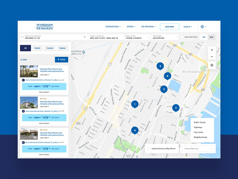 Wyndham Rewards Hotel Selection hotel booking blue white ui hotel app finder map hotel