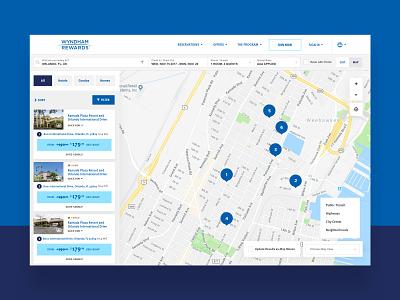 Wyndham Rewards Hotel Selection hotel booking blue white ui hotel app finder map hotel