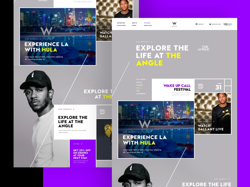 W Exploration events purple design app page full design exploration