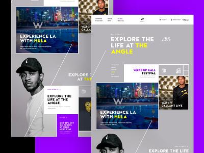 W Exploration events purple design app page full design exploration
