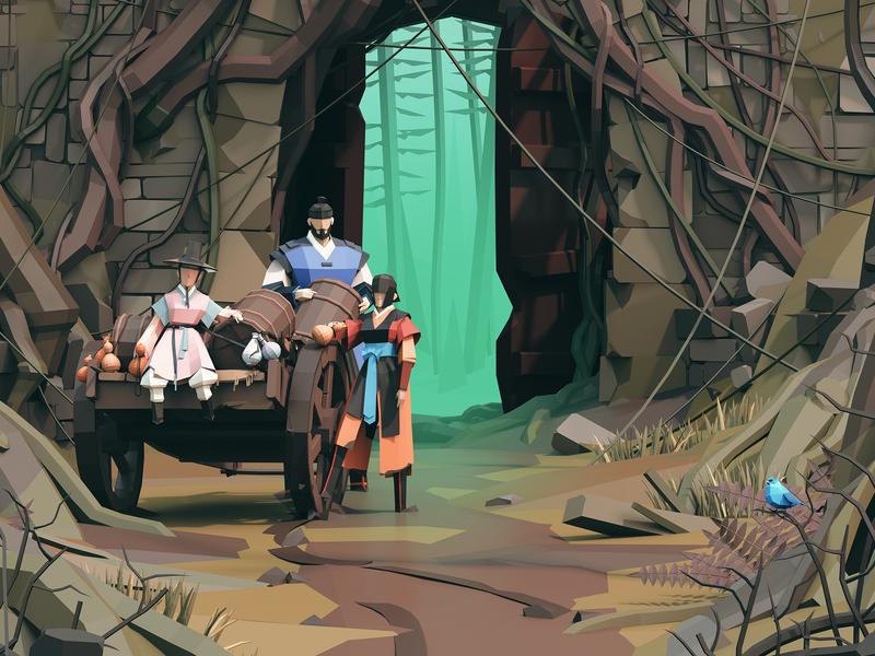 Journey Ep01 3d lowpoly adventure korea joseon fantasy 3d illustration illustration 3dlowpoly lowpoly 3d art 3d