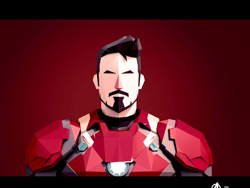 Tony Stark comic book art comic art ironman superheroes marvel marvel comics tony stark 3d art illustration 3dart portrait lowpoly 3d