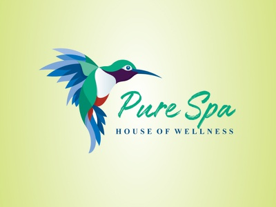 Pure Spa Bird Logo modern design modern logo artistic blue green humming bird hummingbird logo spa logo wellness logo nature logo pure spa bird illustration bird logo vector logo illustration logo design custom type