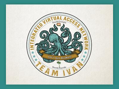 A illustrative vintage logo modern corporate team virtual network illustrator octopus branding ui design classic vintage design logo vector logo design illustration custom type