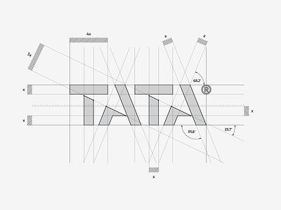 TATA® / construction on the grid 📐 mark brand architecture graphic logodesign logodesigner designer design cut letter typography type logotype logo tata