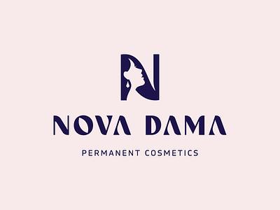 NOVA DAMA© / Permanent Cosmetics face cosmetics space negative woman dama brand logodesign identity mark logodesigner branding design designer logo