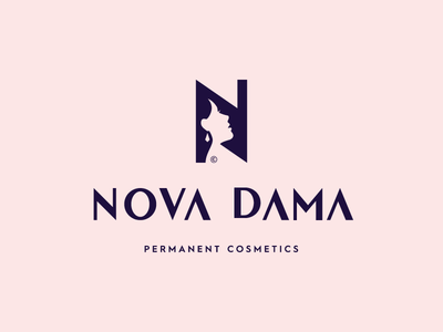 NOVA DAMA© / Permanent Cosmetics profile space negative cosmetics girl woman face typography brand icon logodesign identity mark logodesigner branding design designer logo
