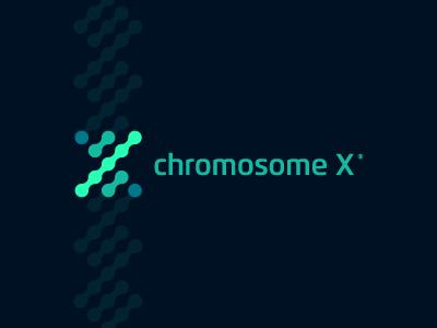 Chromosome X logo genetics human body dna science biology green blue y x chromosome