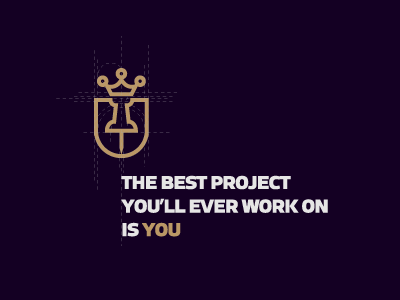 YouOffice / project logo shield crown violet work local prestige gold elegant logo project office you