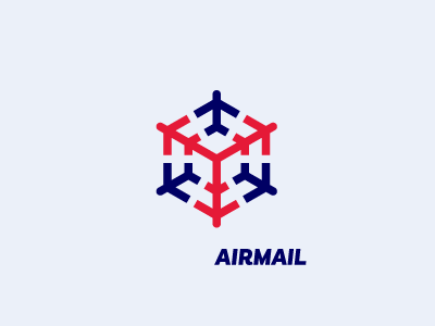 AIRMAIL / air shipments package pack shipping delivery world mail blue red shipments ship air logo
