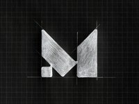 Letter M / sketch on the grid