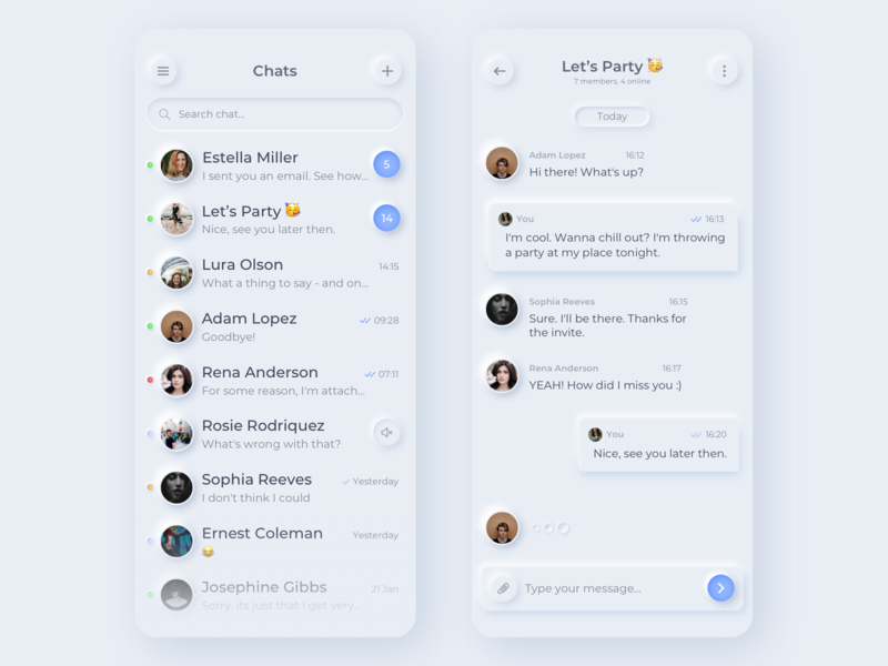 Smooth UI for messenger q-municate message app message api sdk list soft words typing search new trend smooth quick avatar users bubble messenger chat quickblox