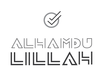 Alhamdulillah muslim islam custom type icon debut first thanks typography