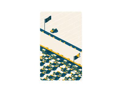 The Exodus building city illustration digital art vector illustration illustration art isometric art isometric design blue yellow storyboard migration 3d vehicle car illustrator isometry isometric illustration isometric