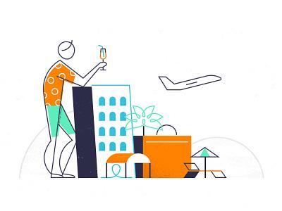 Travelspot illustrations - 2nd proposal digital travel app brand branding line art graphic character design vector business travel travel agency travel design agency linework illustration