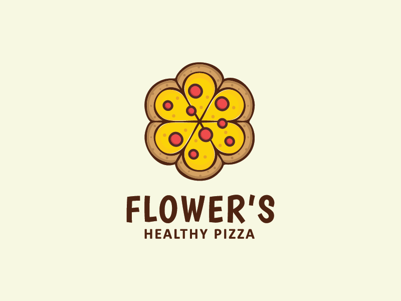 Flower's Healthy Pizza eat logo fast food restaurant pizzeria food delicious flower pizza