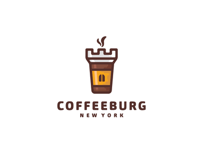 CoffeeBurg logo design logo designer drink food cup fortress mark logo building castle tower coffee