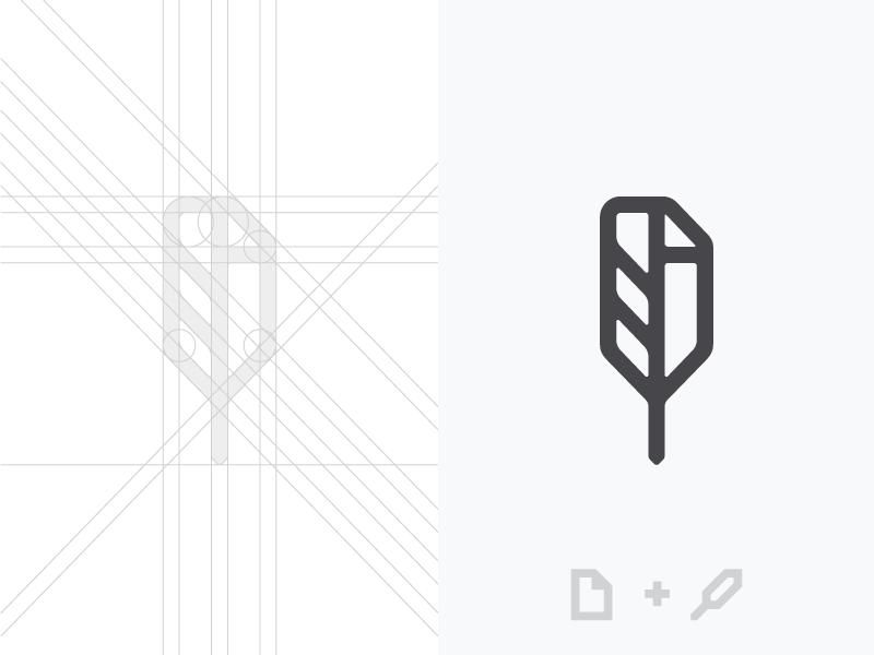 Document + Quill nda logo designer paper document signature pen quill feather logo mark construction grid