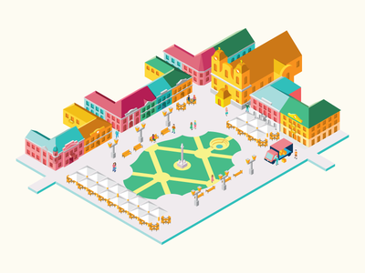 Union Square in Timisoara - Full view illustration travel isometric building city holiday town romania timisoara people church