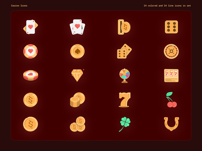 Gold Casino - colored and lined icon pack illustration casinos pocker roulette slots icons casino design casino branding vector ui set icon design