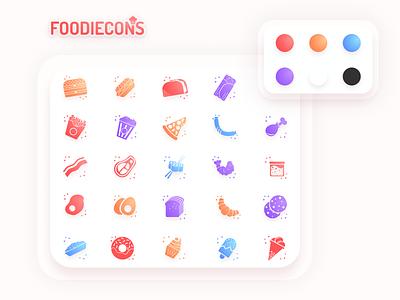 Foodiecons - glyph icon set app web icons branding logo illustration vector set icon design