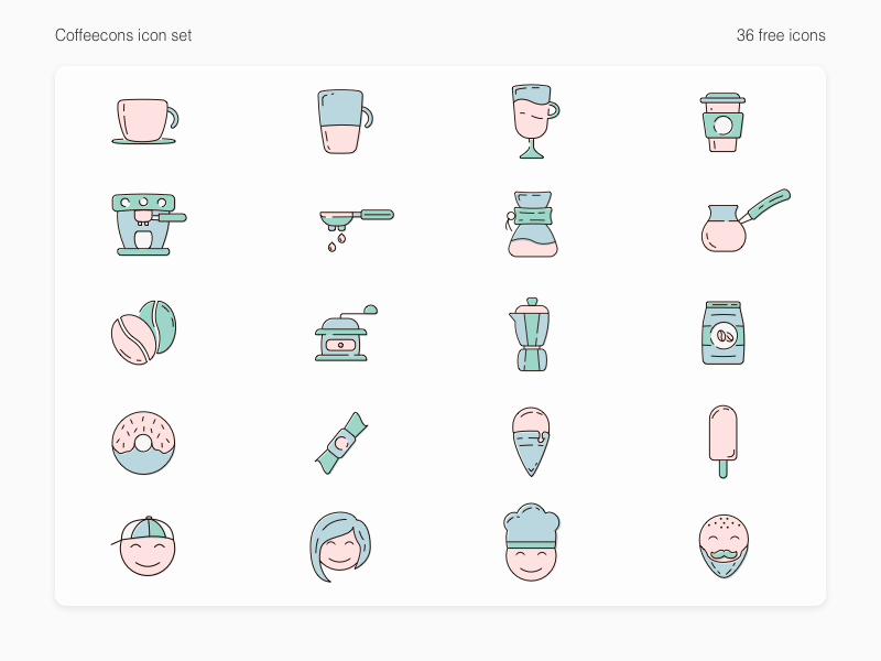 Coffeecons - free vector icon set vector branding free doughnut caffeine illustration set freebie design cup coffee bean coffee icons set icon icons